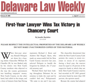 FIRST YEAR LAWYER WINS TAX VICTORY IN CHANCERY COURT